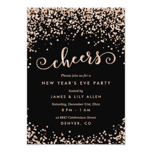champagne confetti dots new years eve party invitation