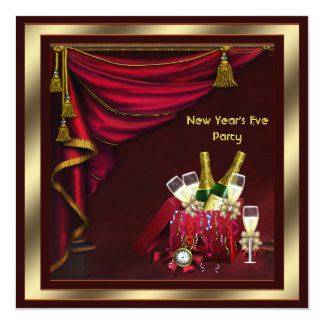 Champagne Confetti New Years Eve Party Card