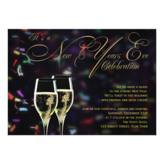 Champagne Confetti New Years Eve Party Invitation
