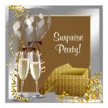 Champagne Confetti Silver Gold Surprise Party Invitations