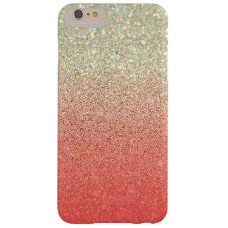 Champagne & Coral Faux Glitter Gradient Barely There iPhone 6 Plus Case