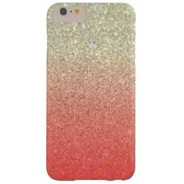 Beach Themed Champagne & Coral Faux Glitter Gradient Barely There iPhone 6 Plus Case