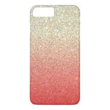 Beach Themed Champagne & Coral Faux Glitter Gradient iPhone 8 Plus/7 Plus Case