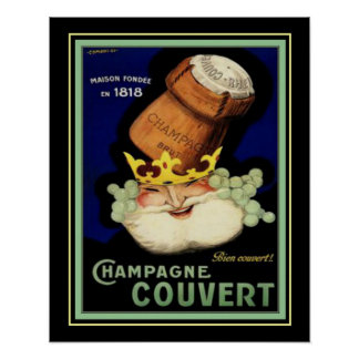 Champagne Couvert Vintage Ad Print 16x20