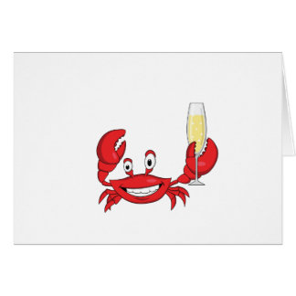 Champagne Crab Notecard Stationery Note Card