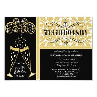"""Champagne & Damask 50th Anniversary Invitations 4.5"""" X 6.25"""" Invitation Card"""