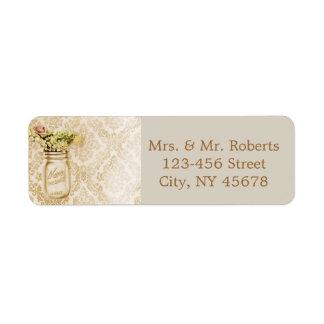 Champagne damask floral mason jar wedding return address label