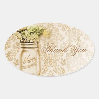 Champagne damask floral mason jar wedding oval sticker