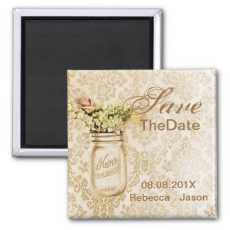 Champagne damask mason jar save the date wedding magnet