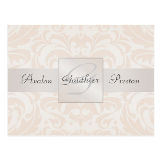 Champagne Damask Monogram Save The Date Postcard