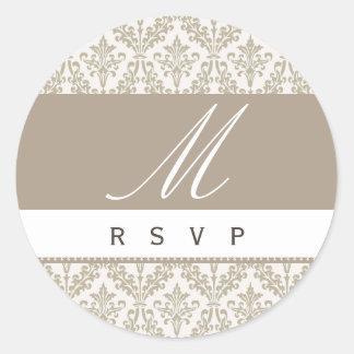 Champagne Damask Monogram Wedding RSVP St Classic Round Sticker