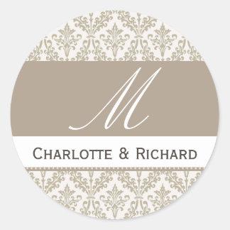 Champagne Damask Monogram Wedding Sticker