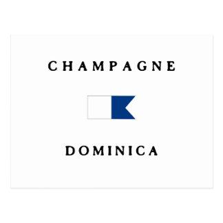 Champagne Dominica Alpha Dive Flag Postcard