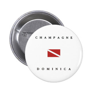 Champagne Dominica Scuba Dive Flag Pinback Buttons