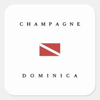 Champagne Dominica Scuba Dive Flag Square Stickers
