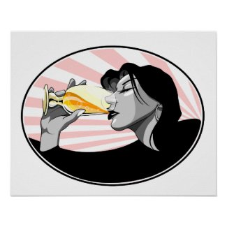 Champagne drinking woman poster