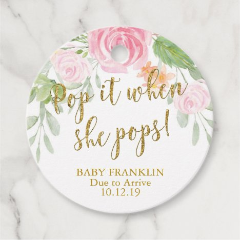 Champagne favor gift tags, Pop it When She Pops Favor Tags