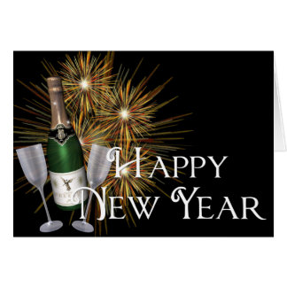 Champagne & Fireworks Happy New Year Greeting Card
