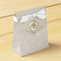 Champagne Fleur Damask Wedding Favor Gift Box