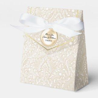 Champagne Fleur Damask Wedding Favor Gift Box
