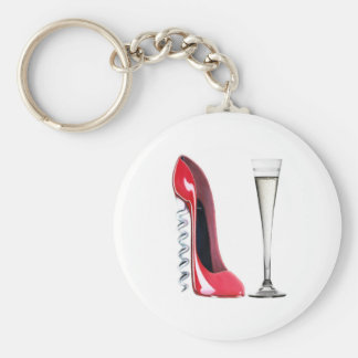 Champagne Flute Glass and Corkscrew Stiletto Shoe Basic Round Button Keychain