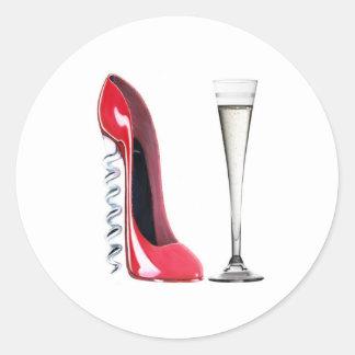 Champagne Flute Glass and Corkscrew Stiletto Shoe Classic Round Sticker