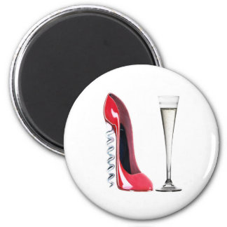 Champagne Flute Glass and Corkscrew Stiletto Shoe Refrigerator Magnets