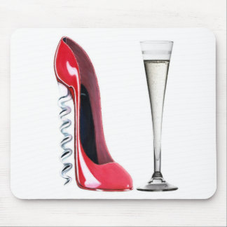 Champagne Flute Glass and Corkscrew Stiletto Shoe Mouse Pad