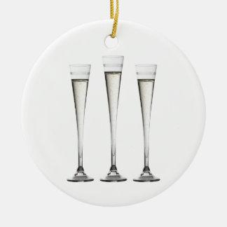 Champagne Flutes Ceramic Ornament