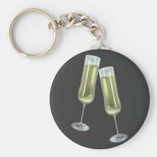 Champagne flutes couple basic round button keychain