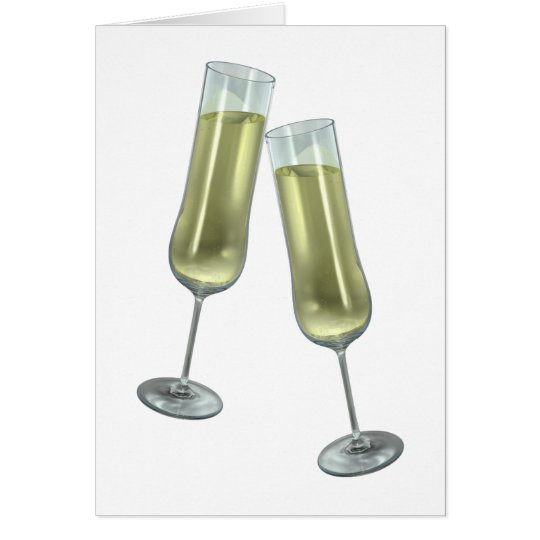 Champagne flutes couple card