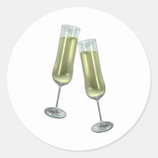 Champagne flutes couple classic round sticker