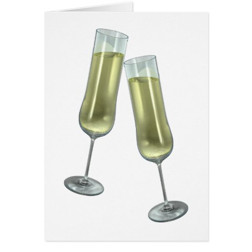 Champagne flutes couple greeting card