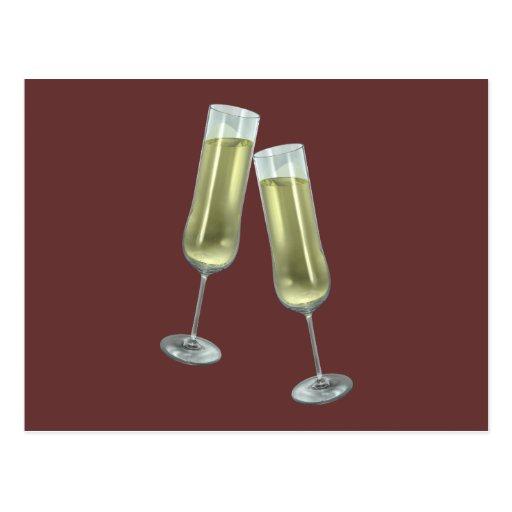 Champagne flutes couple postcards
