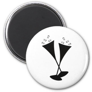 Champagne Flutes in Black and White Fridge Magnets