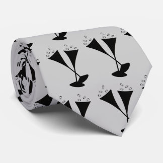 Champagne Flutes in Black and White Neck Tie