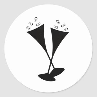 Champagne Flutes in Black and White Classic Round Sticker