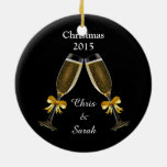 Champagne Flutes on Black Double-Sided Ceramic Round Christmas Ornament