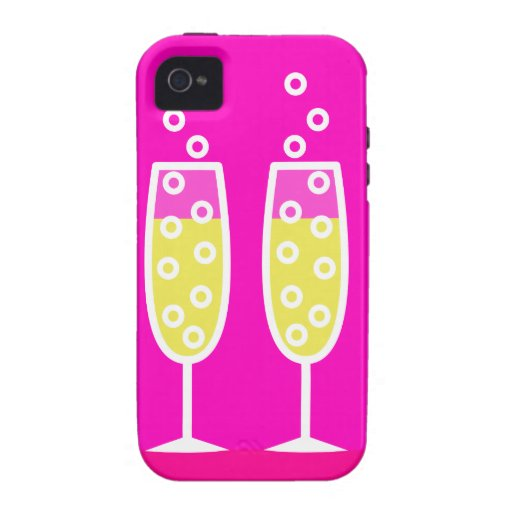 Champagne Flutes - pink Vibe iPhone 4 Cases