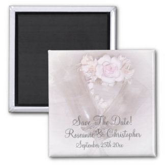 Champagne Flutes Roses Wedding Save The Date Refrigerator Magnet
