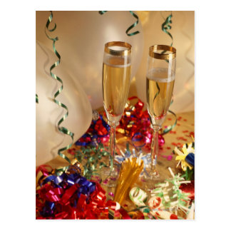 Champagne flutes, streamers and noisemakers postcard