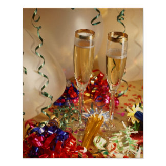 Champagne flutes, streamers and noisemakers poster