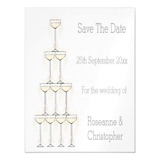 Champagne Flutes Wedding Save The Date Magnetic Card Zazzle