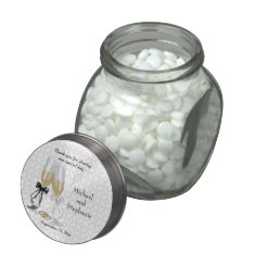 Champagne Flutes Wedding Thank You Jelly Belly Candy Jars at Zazzle