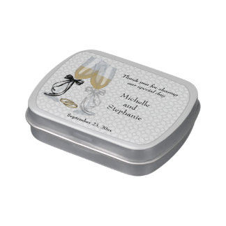 Champagne Flutes Wedding Thank You Jelly Belly Tin