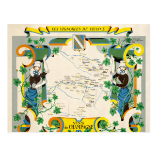Champagne, France Vintage Map Postcard