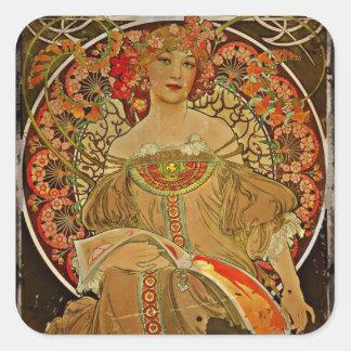Champagne Girl 1897 Square Sticker