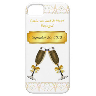 Champagne Glass Gold Wedding or Engagement Date iPhone 5 Case