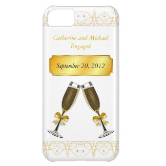 Champagne Glass Gold Wedding or Engagement Date iPhone 5C Cover