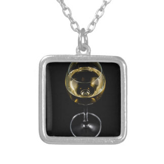 champagne glass silver plated necklace